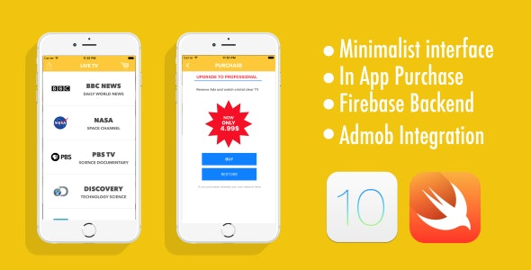 Live TV - Admob - Firebase - In App Purchase - CodeCanyon Item for Sale
