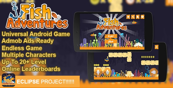 Fish Adventures+ Admob + Online Leaderboard + Multiple Characters - CodeCanyon Item for Sale