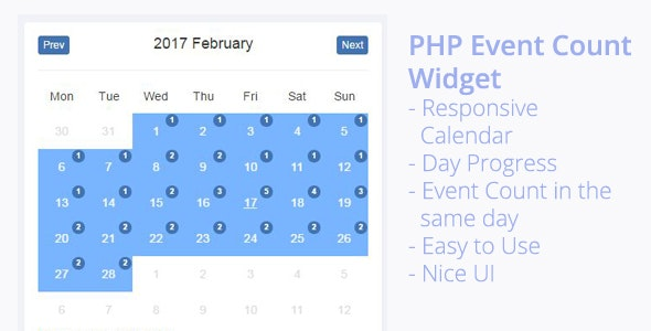 PHP Event Count Widget - CodeCanyon Item for Sale