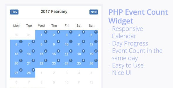 PHP Event Count Widget