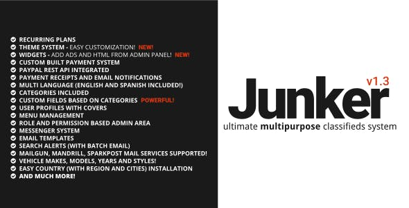 Junker - Ultimate Multipurpose Classifieds Script