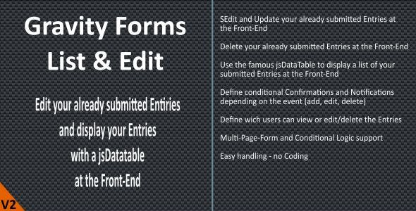 Gravity Forms - List & Edit