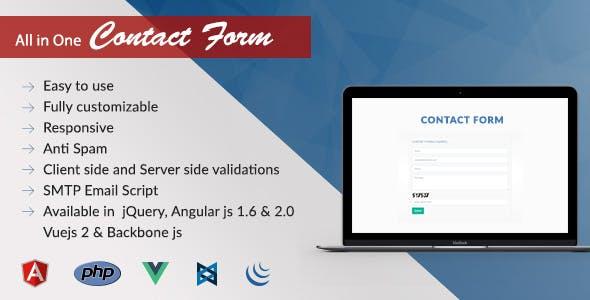 Contact us Form | Jquery AngularJs Vuejs BackboneJs