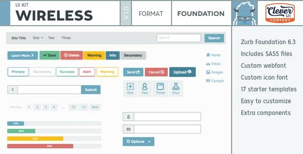 Wireless- Minimalist Foundation UI Kit - CodeCanyon Item for Sale