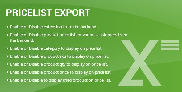 Price list export Magento2