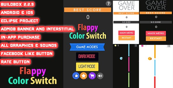 Flappy Color Switch Buildbox 2.2.9 +Eclipse project (Android & iOS)
