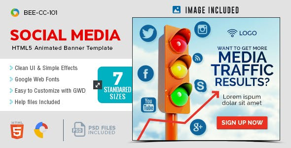 HTML5 Social Media Banners - GWD - 7 Sizes(BEE-CC-101)
