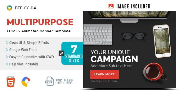 HTML5 Multi Purpose Banners - GWD - 7 Sizes(BEE-CC-114)