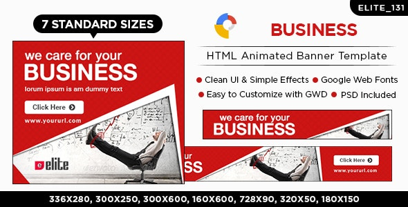 HTML5 Business Banners - GWD - 7 Sizes(ELITE-CC-131) - CodeCanyon Item for Sale