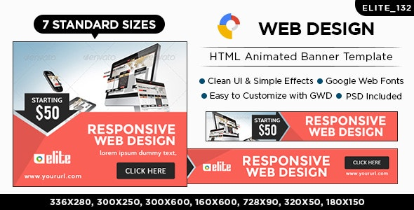HTML5 Web Design & Agency Banners - GWD - 7 Sizes(ELITE-CC-132) - CodeCanyon Item for Sale