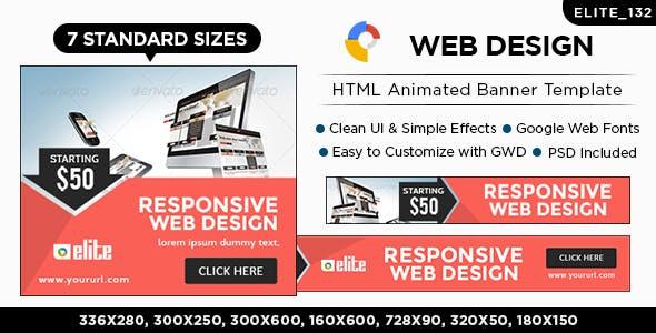 HTML5 Web Design & Agency Banners - GWD - 7 Sizes(ELITE-CC-132)