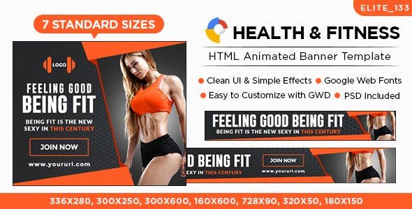 HTML5 Health & Fitness Banners - GWD - 7 Sizes(Elite-CC-133)