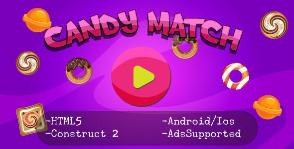 Candy Match (HTML5 Game + Construct 2 CAPX)