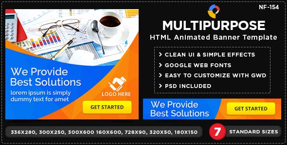 HTML5 Multi Purpose Banners - GWD - 7 Sizes(NF-CC-154)