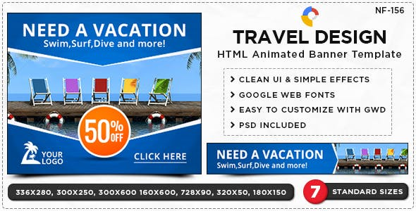 HTML5 Travel & Tourism Banners - GWD - 7 Sizes(NF-CC-156)