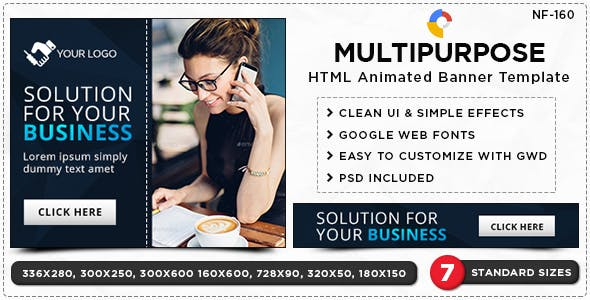 HTML5 Multi Purpose Banners - GWD - 7 Sizes(NF-CC-160)