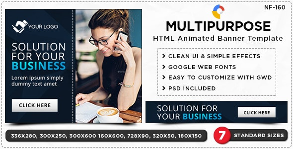 HTML5 Multi Purpose Banners - GWD - 7 Sizes(NF-CC-160) - CodeCanyon Item for Sale
