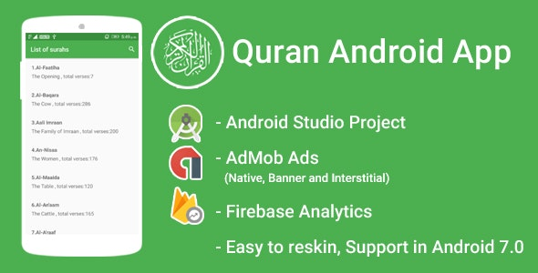 Quran App with Admob Interstitial + Banner + Native Ads + FIrebase Integration + Google Analytics - CodeCanyon Item for Sale