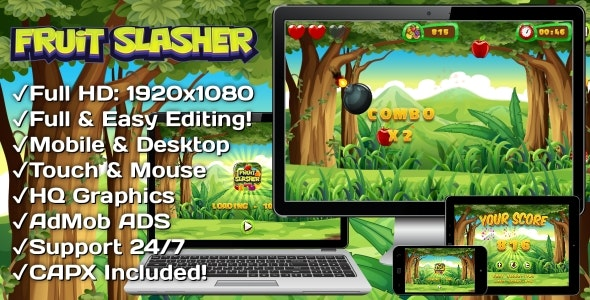 Fruit Slasher - HTML5 Game, Mobile Version+AdMob!!! (Construct 3 | Construct 2 | Capx) - CodeCanyon Item for Sale