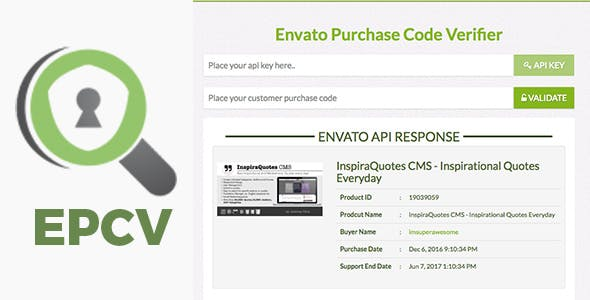 EPCV - Envato Purchase Code Verifier