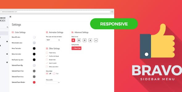 Menu Mega Bravo-Responsive Bootstrap Sidebar Menu Plugin