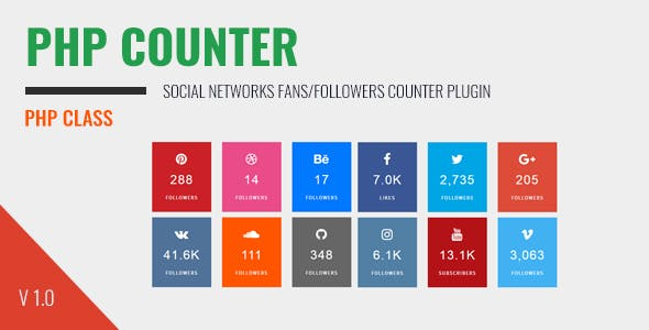 PHP Counter -  social networks fans/followers counter plugin