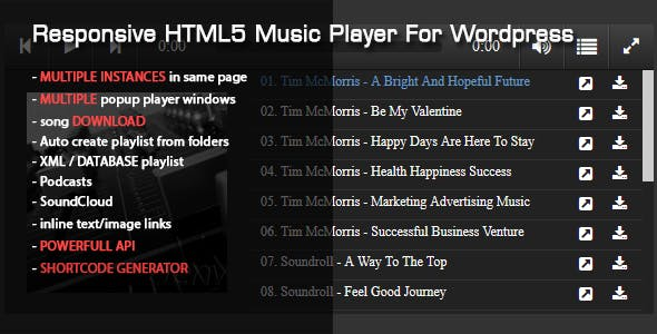 Responsive HTML5 Music Player For Wordpress