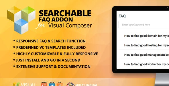 Searchable FAQ Addon for WPBakery Page Builder (formerly Visual Composer)