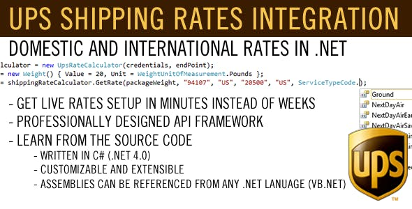 .NET UPS Shipping Rates Integration Framework