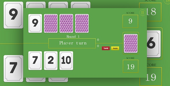 21 - HTML5 card game. Construct 2 (.capx) + mobile control - CodeCanyon Item for Sale
