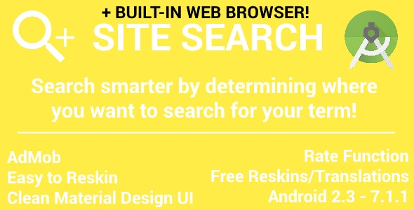 Site Search - with AdMob (Banner & Interstitial) - with Web Browser | Advanced Google Search - CodeCanyon Item for Sale