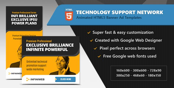 HTML5 Ads - Technology Support Network Banner Templates (GWD)