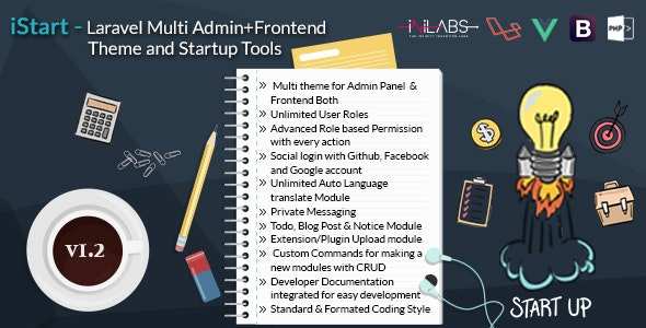 iStart - Laravel Multi Admin+Frontend Theme and Startup Tools - CodeCanyon Item for Sale