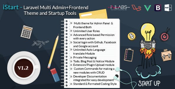 iStart - Laravel Multi Admin+Frontend Theme and Startup Tools