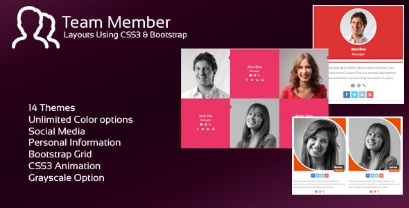 JAG Bootstrap Responsive Team Members - CodeCanyon Item for Sale