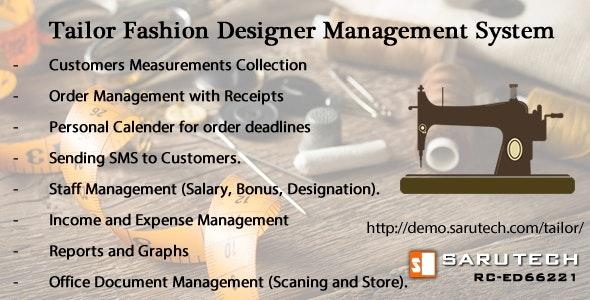 TAILOR / FASHION DESIGNER MANAGEMENT SYSTEM by sarutech