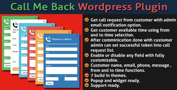 Call Me Back WordPress Plugin - CodeCanyon Item for Sale