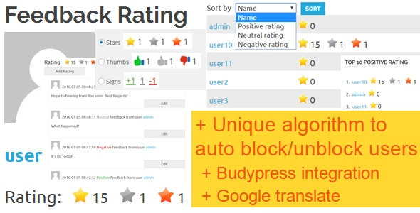 Feedback Rating Pro - CodeCanyon Item for Sale