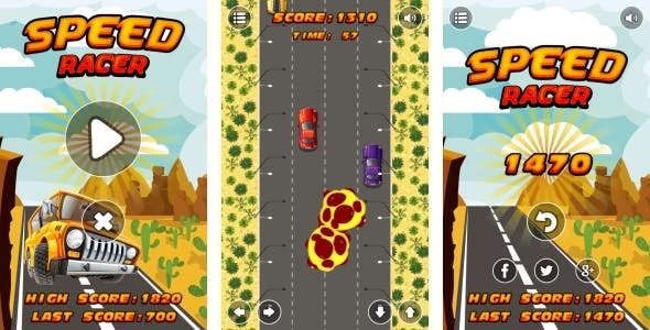 Speed Racer - HTML5 Game + Android + AdMob (Construct 3 | Construct 2 | Capx)