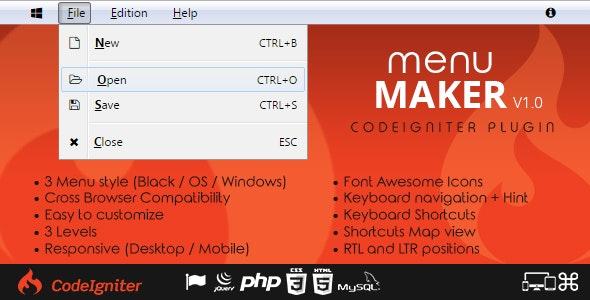 Menu Maker - Codeigniter Plugin - CodeCanyon Item for Sale