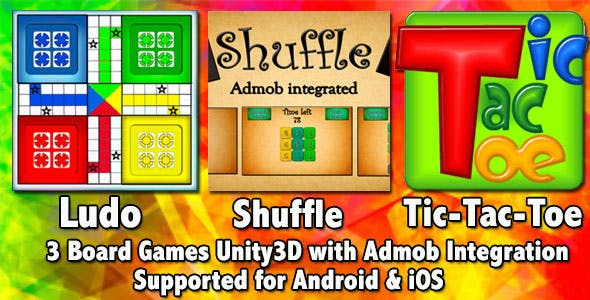 3 Games Bundle Unity3D Project+Admob Integrated+Supported for Android & iOS+3 Board Games included