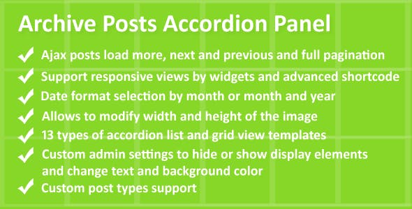 Archive posts accordion panel pro