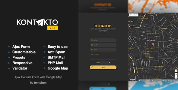 KONTAKTO - Ajax Contact Form with Styled Map