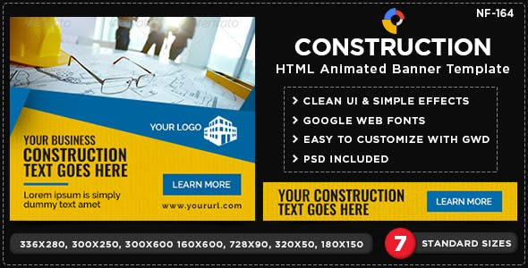 HTML5 Construction Banners - GWD - 7 Sizes(NF-CC-164)