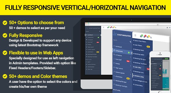 Dropdown Sidebar Menu Responsive Bootstrap Navigation - CodeCanyon Item for Sale