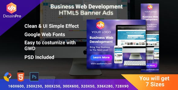 Software Web Development HTML5 Ad Banners - GWD - 7 Sizes