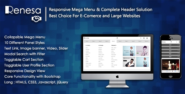 Renesa - Responsive Mega Menu with Complete Header Solution For E-Commerce and Large Websites - CodeCanyon Item for Sale