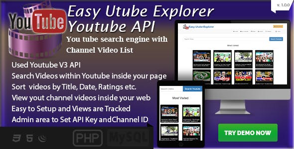 Easy Utube Explorer - Youtube API based Channel and Search