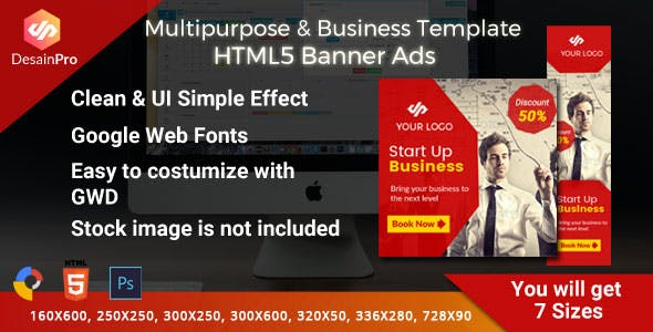 Multipurpose Business Ad Template - GWD - 7 Sizes
