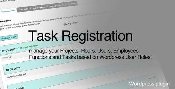 Task Registration for Wordpress